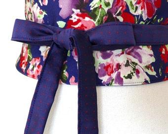 "Reversible Obi Belt ""Emilia"", waist-clancher, cobalt blue, flowers, pink, purple, green, by Lorella Créations"