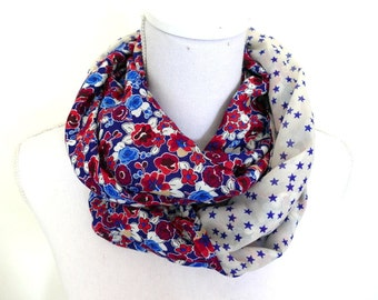 Infinity Scarf - duo of contrasting fabric - Made in France