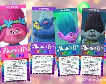 ENG/SPA Trolls Movie Ticket Style Invitation - Printable Digital File