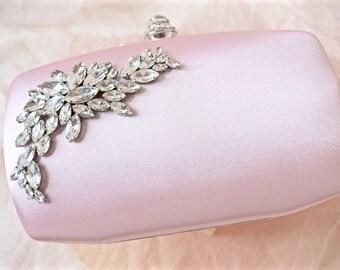 Pink Rhinestone Clutch,Pink Bridal Clutch,Pink Wedding Clutch,Pink Satin Clutch,Pink Bridal Purse,Pink Wedding Purse,Pink Bridal Accessories