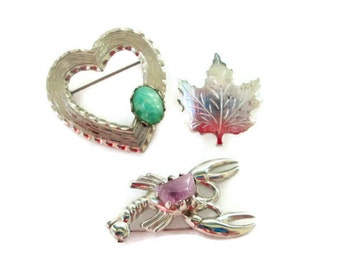 Vintage Brooch Collection, Lobster Brooch, Heart Brooch, Leaf Brooch, Retro Fashion Pins Jewelry Rockabilly