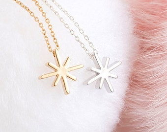 Tiny Star Cross Charm Necklace, Gold / Silver, Layering Whimsical Jewelry, Girlfriend Flower Girl Gift, LJ bj ej