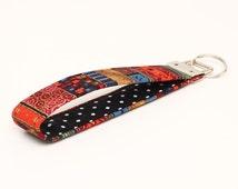 Hippie Key Fob, Fabric Keychain Wristlet, Blue Keyring, Key Lanyard, Handmade Keyfob - red gold boho stripes black polka dots
