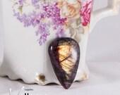 Natural shiny reddish labradorite flashy labradorite cabochon, teardrop, 38mm x 25mm, high quality designer stone, fire flash labradorite