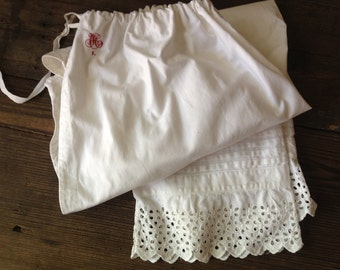 19th C French Linen Bloomers Lace Monogram French Farmhouse