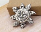 Sun Necklace, sterling silver 925 pendant, Handcarved Sun, Huge Sun Pendant, Face of Sun OOAK necklace