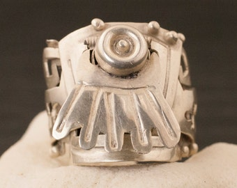 Vintage Mexican Sterling Silver Poison Ring