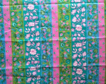 60s Hot Pink Lime Green Vintage Fabric Striped Pastel Floral Mid Century Mod 3 Yards! Brady Bunch Heart Flowers Light Weight Cute Bright Fun
