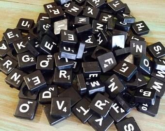 Black Scrabble / 20 Black Plastic Scrabble Letters for Altered Art, Mixed Media, Crafts, Steampunk, etc.