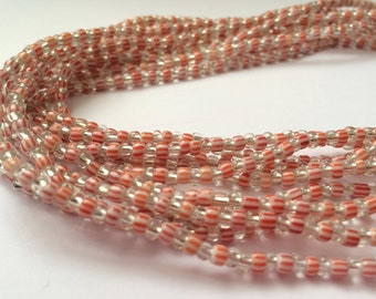 White and Red Striped Handmade African Waist Bead *per one strand*