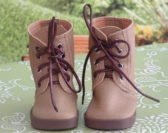 Tan Faux Leather Working/Hiking Boots for American Girl/Boy Dolls