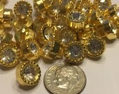 10 gold color acrylic rhinestone shank buttons, 10 mm (1)