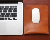 Personalized Leather Mouse Pad, Ergonomic Wrist Rest Support, Premium Italian Leather, Tan Brown, Free Shipping