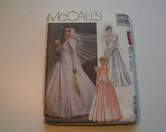 Vintage McCalls Pattern 5244 Miss Bridal Gown and Bridesmaids Gown