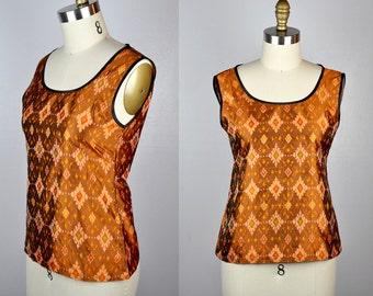 SILK Blouse IKAT Silk Blouse Top Asian Indian Uzbek Silk Sleeveless Colorful Boho Summer Lightweight size XS - S