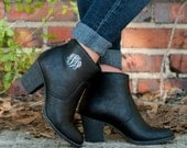Monogrammed Ankle Boots, Ankle Booties, Monogrammed Boots, Monogrammed Booties