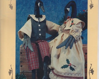 """Christmas Geese Patterns from Fruitfull Hands - Susan M Backlund - 20"""" Sewn and Painted Canadian Geese Sitting Dolls"""