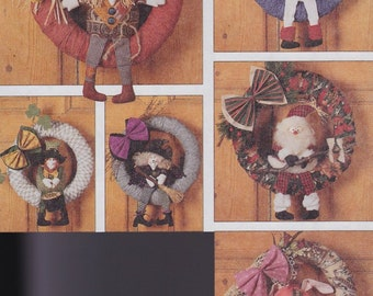 Seasons of the Wreath - 15 inch Wreath Patterns - McCall's 7229 - Snowman - Leprechaun - Santa - Scarecrow - Witch - Easter Bunny