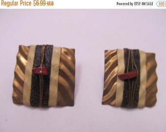 ON SALE DAUPLAISE Gold Tone Mixed Media Earrings Item K # 2539