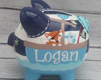 Pirate piggy bank etsy - Nautical piggy banks ...