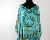 Regular  Size Ice Dyed Tie Dyed Poncho,  Bahama Mama,   Asymmetric  Poncho Style Tunic, Light Rayon, READY TO SHIP