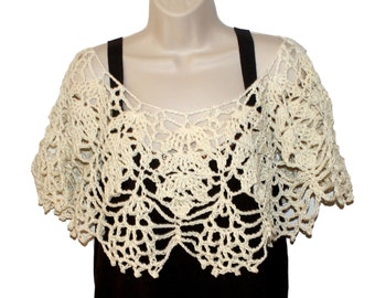 Crochet Capelet, White Bridal Capelet, Ivory poncho, Bridal Shawl, Cotton Shawl, Womens Shawl, Crochet Shawl, Womens Shawlette, Bride Poncho