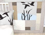 Duck Baby Quilt Hunting Theme Crib Bedding,  Hunter Nursery, Woodland Crib Bedding for Baby Boy, Forest Blanket,  gray, cream, beige, brown