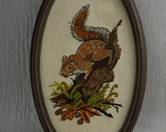 Kitsch 1980s Embroidered Squirrel  Wall Art in Frame