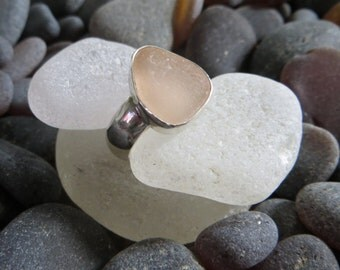 Size 8, Pink Sea Glass Ring, Sterling Silver, Wide Band