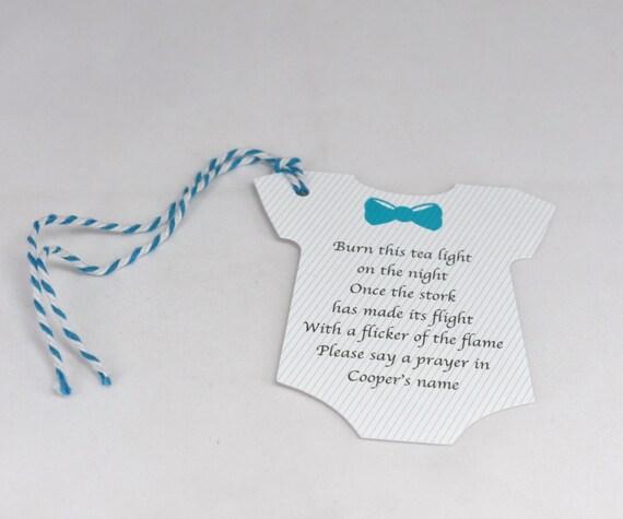 12 Bodysuit Baby Shower Candle Prayer Favor Tag