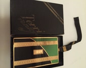ART DECO Terri VANITY Case with Strap & Original Box Stripe  - Green and Black Enamel