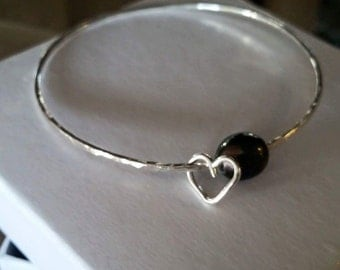 14 Gauge Sterling Silver Bangle with Freshwater Pearl and Heart Charm