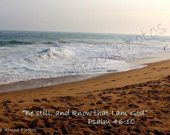 Beach photograph  Scripture 8 x 10 matted photo