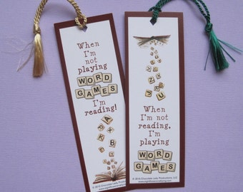 Word Games Scrabble Book Marks with Tassel