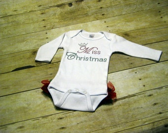 Miss Christmas Long Sleeve Creeper with Ruffle on Bottom *newborn* Ready to Ship
