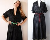Vintage 1940's  Black striped woven satin Dress, short sleeves.