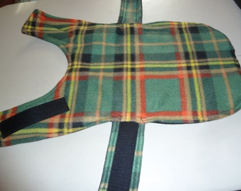 "Extra Small Winter Tartan Plaid Fleece Dog Coat in Green, Black, Yellow and Red (16"" Long)"