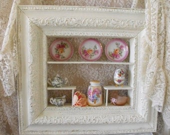 Large Antique Shadowbox/Curio cabinet/Wall storage - RETRO - Mid Century - Shabby Chic - wall cabinet -French style storage - Painted White