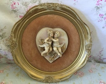 Set of TWO Raised Relief Vintage Chalkware/Porcelain  Plaques - Shabby Chic wall plaques -