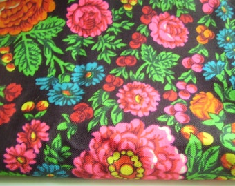 Vintage 1970's, 80's Gypsy Boho Bright Hot Pink, Orange, Green, Red, Turquoise Floral Black Wool Challis Fringed Shawl Tablecloth