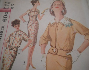 Vintage 1960's Simplicity 3361 Dress and Jacket Sewing Pattern, Size 12 Bust 32