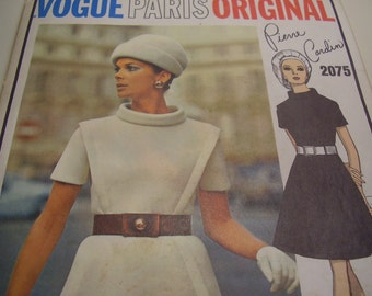 Vintage 1960's Vogue 2075 Paris Original Pierre Cardin Dress Sewing Pattern, Size 12, Bust 34