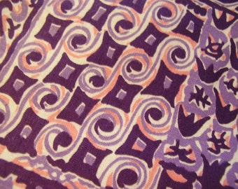 Vintage 1950's Purple Pink Patchwork Abstract Design Cotton Fabric, 4 yards