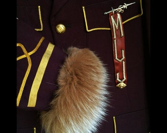 Cecilia-Vintage 1940s Burgundy Wool Band Uniform with Fox Fur Cuffs, Vintage American Legion and Sword Pins and Monogram Sash and Pennant