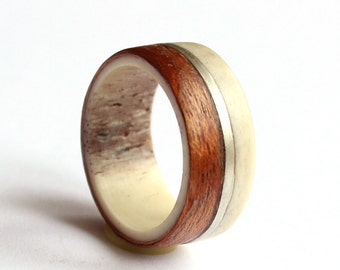 Mens Ring, Deer Antler Ring, Mahogany Ring, Sterling Silver and Wood Wedding Band
