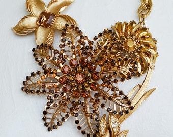 Vintage Golden Amber Glass Rhinestone Flower Brooch Statement Necklace