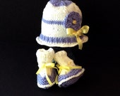 Sweet New Baby Lilac Flower Hat and Stay On Bootie Set, 0-3m+
