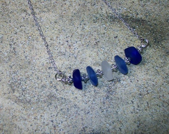 Ombre blue sea glass bar necklace, free shipping within US