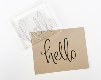 Hello Rubber Stamp - Calligraphy Rubber Stamp - Big Hello stamp - large hand lettered stamp - hello - snail mail - packaging stamp - K0051
