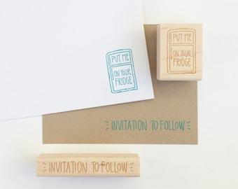 Put me on your fridge stamp - invitation to follow stamp - invitation stamp - wedding save the date stamps - wedding stamp